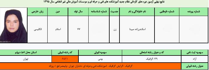 رشته گرافیک - قبولی دانشگاه ولیعصر (عج) تهران - روزانه- کنکور هنرستان سال 95
