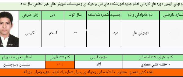رشته معماری- قبولی دانشگاه پسران شماره یک کرمان - روزانه- کنکور هنرستان سال 95