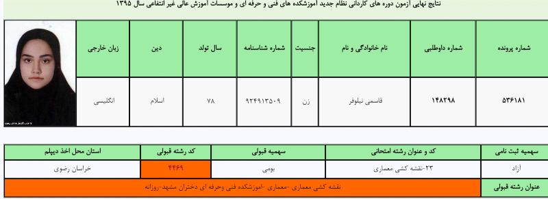 رشته معماری- قبولی دانشگاه فنی دختران مشهد - روزانه- کنکور هنرستان سال 95