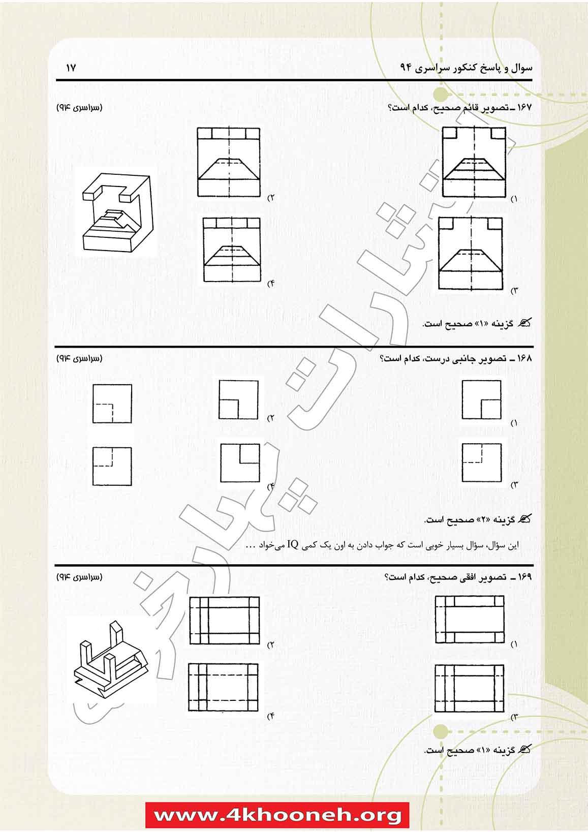 سوالات و پاسخنامه کنکور فنی معماری 94